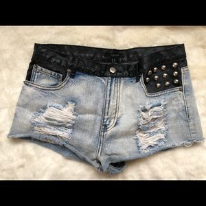 Denim Cutoffs with Leather Band and Studs